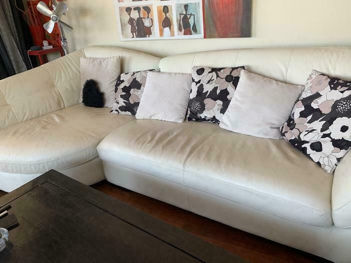 Canapé cuir blanc